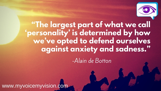 Alain de Botton personality anxiety and sadness quote
